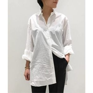 FRAME Poplin White Button Down Relaxed Fit Shirt